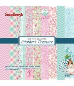 BLOC 24 FEUILLES 15 X 15 CM MOTHER'S TREASURE - SCRAPBERRY'S