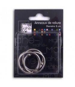 4 ANNEAUX METAL ARGENT - 3 CM