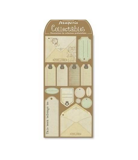 ETIQUETTES CARTON POST CARD X 14 STAMPERIA