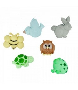 BOUTONS ANIMAUX NATURE X 6