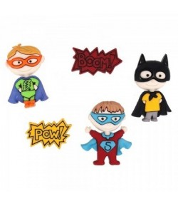 BOUTONS SUPER HEROS X 5