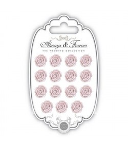 MINI ROSES EN RESINE ROSE PALE X 15