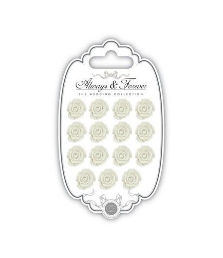 MINI ROSES EN RESINE BLANC CASSE X 15
