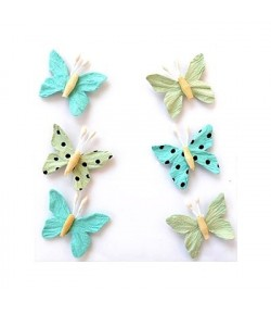 PAPILLONS VERT/TURQUOISE X 6