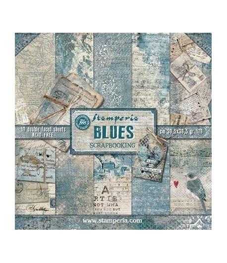 BLOC 10 FEUILLES BLUES 30X30 SBBL26