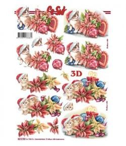 FEUILLE 3D CHATS NOEL