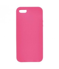 COQUE IPHONE 5/5S A BRODER ROSE FLUO