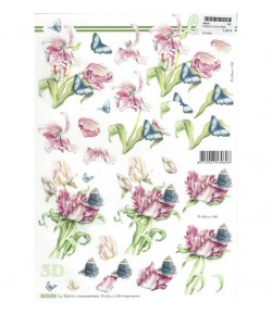 FEUILLE 3D TULIPES PERROQUET 8215656