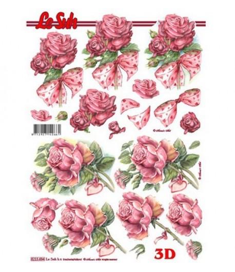 FEUILLE 3D ROSES COEURS 8215694