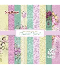 BLOC 24 FEUILLES 15 X 15 CM CHERISHED JEWELS - SCRAPBERRY'S