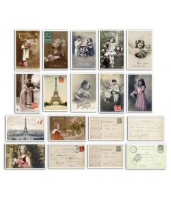 ASSORTIMENT 18 MINI CARTES POSTALES VINTAGE