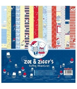 BLOC 16 FEUILLES 30X30 ZOE ET ZIGGYS - SCRAPBERRY'S