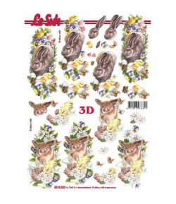 FEUILLE 3D LAPINS PAQUES