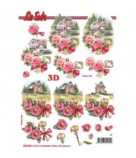 FEUILLE 3D COTTAGE ROSES