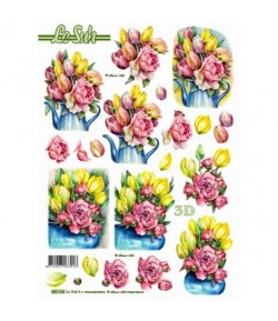FEUILLE 3D BOUQUETS DE TULIPES 680104