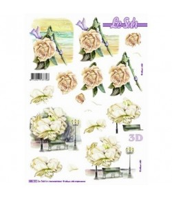 FEUILLE 3D ROSES BLANCHES 680101