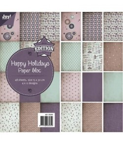 BLOC PAPIER 48 FEUILLES 15 X 30 CM HAPPY HOLIDAYS - JOY CRAFT
