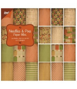 BLOC PAPIER 24 FEUILLES 15 X 30 CM NEEDLES PINS  NEEDLES & PINS - JOY CRAFT
