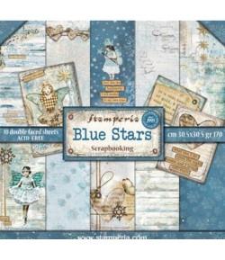 BLOC 10 FEUILLES BLUE STARS 30X30 SBBL35