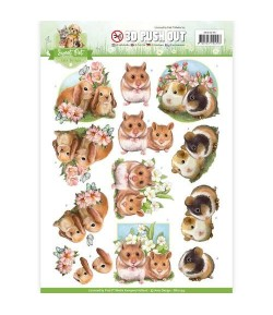 FEUILLE 3D LAPINS ET  HAMSTERS CD10959