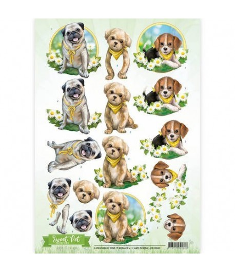 FEUILLE 3D CHIOTS CD10960