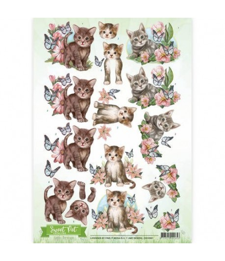 FEUILLE 3D CHATONS CD10961