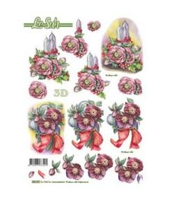 FEUILLE 3D ROSES DE NOEL 680097