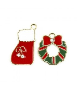 CHARMS CHRISTMAS CHAUSSETTE ET COURONNE