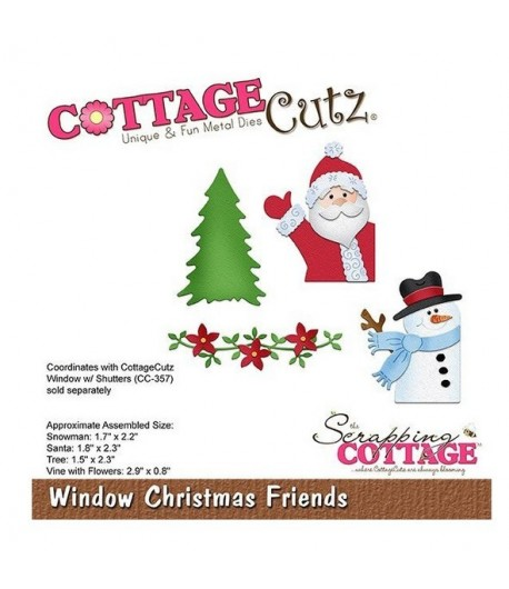 CottageCutz WINDOW WITH SHUTTERS Metal Die CC-357 Christmas coordinates w CC-356