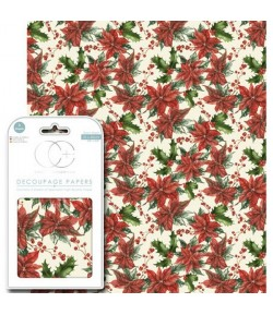 3 FEUILLES PATCH 35X40 POINSETTIAS