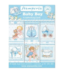 BLOC 24 CARTES BABY BOY 11.4X16.5