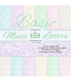 BLOC PAPIER 30X30 MUSIC LETTERS - LEMON CRAFT