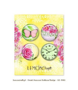BUTTON BADGE FRESH SUMMER X 4 - LEMON CRAFT