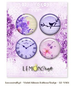 BUTTON BADGE VIOLET SILENCE  X 4 - LEMON CRAFT