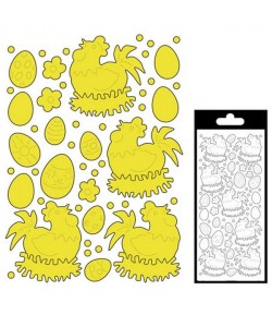 STICKERS POULES PAQUES OR