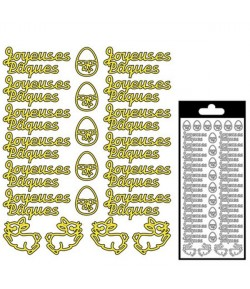 STICKERS JOYEUSES PAQUES OR