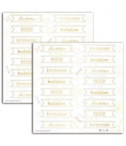 STICKERS INVITATION BLANC ET OR