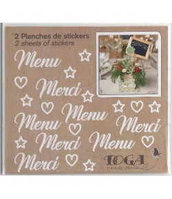 STICKERS MERCI ET MENU BLANC