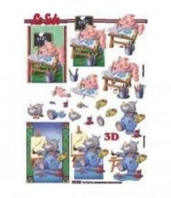 FEUILLE 3D ANIMAUX RIGOLOS