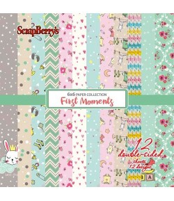 BLOC 12 FEUILLES 15 X 15 CM FIRST MOMENTS - SCRAPBERRY'S