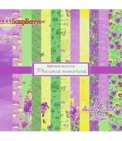 BLOC 12 FEUILLES 15 X 15 CM PRECIOUX MEMORIES - SCRAPBERRY'S