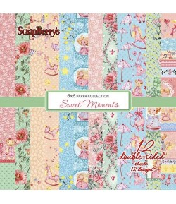 BLOC 12 FEUILLES 15 X 15 CM SWEET MOMENTS- SCRAPBERRY'S