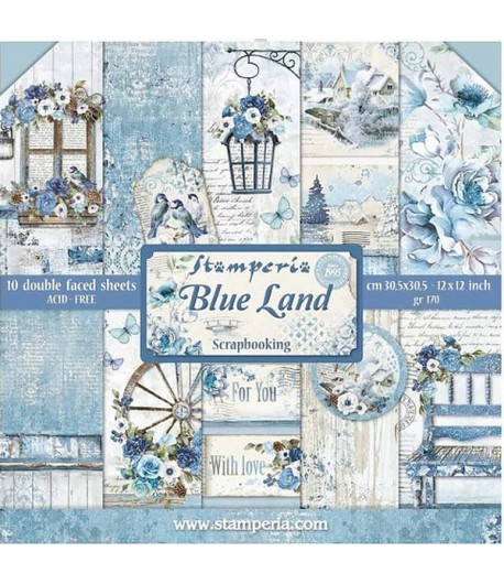 BLOC 10 FEUILLES BLUE LAND 30.5 X 30.5 CM SBBL47