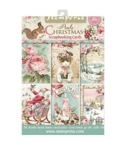 BLOC 24 CARTES PINK CHRISTMAS  11.4 X 16.5 CM