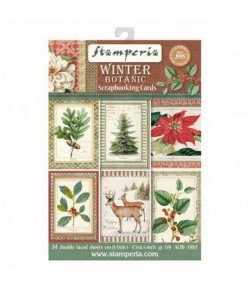 BLOC 24 CARTES WINTER BOTANIC  11.4 X 16.5 CM