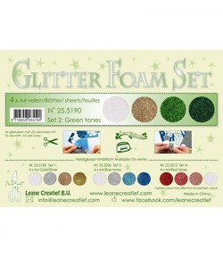 MOUSSE GLITTER A4 - 4 FEUILLES - TONS VERTS