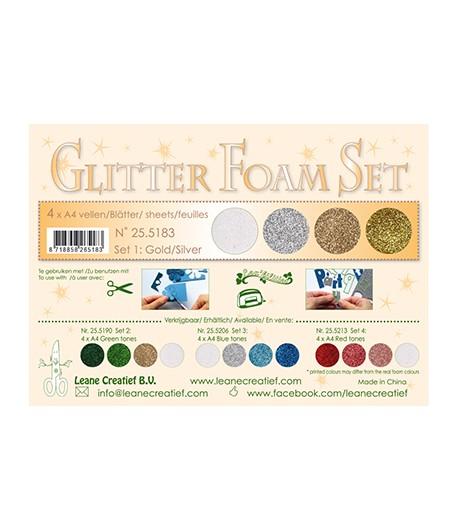 MOUSSE GLITTER A4 - 4 FEUILLES - TONS OR ET ARGENT