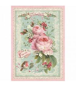 PAPIER DE RIZ ROSE CHRISTMAS PINK 21 X 29.7 DFSA4313