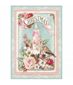 PAPIER DE RIZ CHRISTMAS PINK 21 X 29.7 DFSA4315