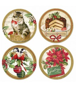 4 ETIQUETTES ADHESIVES RONDES CHRISTMAS 21X21